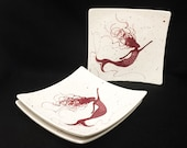 Plate. Salad. Garlic.Grater Plate.Mermaid Dinner Plate. Salad Plate. Sea.Dots. Handmade by Sara Hunter Designs