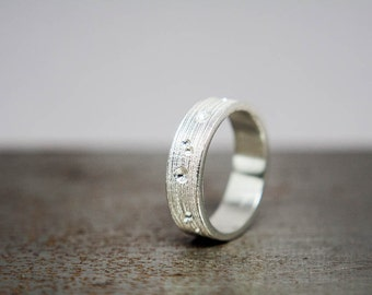 Womens Size 6.75 Textured Silver Ring Band, Ready to Ship Gift for Her