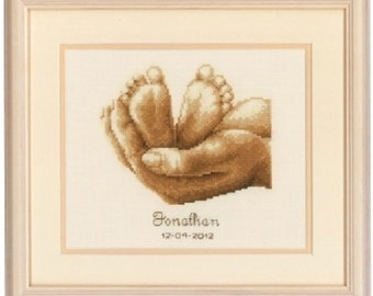 Tiny Feet Complete Baby Cross Stitch Kit by Vervaco