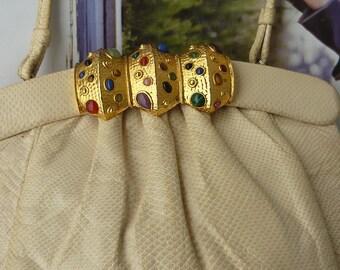Vintage Small Clutch Purse Colorful JEWEL Closure TIRAS Handbag Shoulder Bag 1980s Snake Skin Ivory White Hong Kong