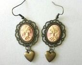 Victorian Skeleton Lady Cameo Earrings Pastel Powder Pink Vanilla Brass Gothic Lolita Earrings Jewelry Marie Antoinette Skeleton Skull Heart