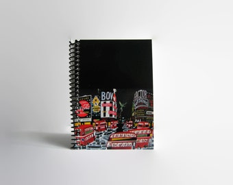 Piccadilly Circus Travel Writing Journal London, Blank Notebook, Mid Century, Gifts Under 15, 4x6 Inches, Sketchbook, Spiral Bound, A6