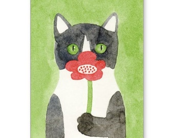 """Cat & Flower Small Greeting Card by KAZUMI 4"""" x 5.6"""""""