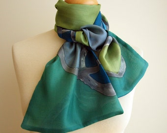 Hand Painted Silk Scarf.Woman Silk Scarf. Double-layer hand painted silk scarf.Wedding Gift.Giveaways.Ideas for her