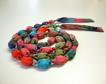 Silk Necklace - Red-Pink-Blue necklace - light necklace  - gift for her - wedding necklace - giveaways - 63 in 0.6 cm)