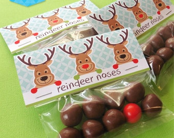 Instant Download - Reindeer Noses Treat Bag Toppers - DIY Printable