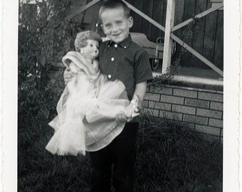 vintage photo 1963 RARE Little Boy holding Large Fashion Doll in Front Yard