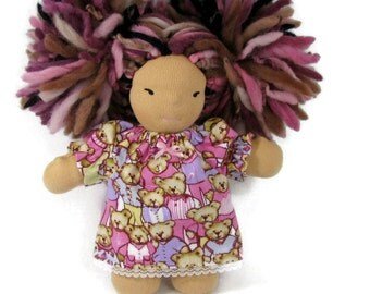 7, 8 inch chubby Waldorf doll flannel nightgown in pink teddy bears patterned flannel, doll nightgown