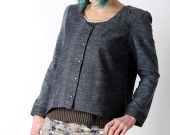 Pleated denim jacket, Raw denim jacket with jersey sleeves, Womens denim jacket with lace and pleats in back, size UK 14
