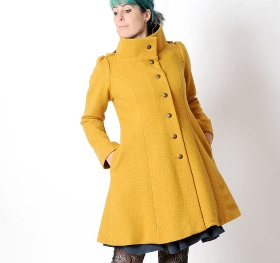 mustard yellow wool coat womens yellow winter coat pointy. Black Bedroom Furniture Sets. Home Design Ideas
