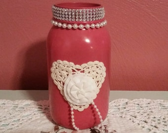 SHABBY CHIC Pink Coral Painted & Embellished Mason Jar Vase, Home Decor, Mothers Day Gift