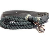 Rope Dog Leash - Cotton Rope leash with leather handle- Smoke