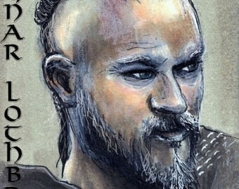 The History Channel Vikings' Ragnar Lothbrok Copic Marker Drawing Art Print Travis Fimmel 11.7 x 16.5 inches