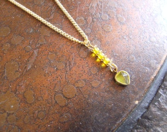Lemon Heart Czech Fire Polish Gold Tone Chain necklace