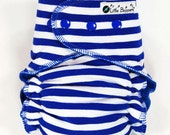 AI2 Cloth Diaper Made to Order - Royal Blue and White Stripes - You Pick Size and Style - Custom Cloth Nappy - Diapers Nappies - Striped Boy