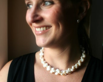 Large White Pearl Necklae - Peanut Pearls - Statement Necklace - Fromal Necklace