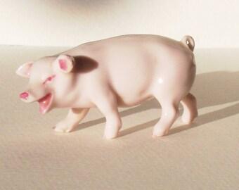 Miniature Porcelain Pig Figurine
