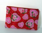 Valentine Zippered Pouch, Roses Valentine's Day Makeup Bag, Be Mine Cosmetic Bag, Valentines Day Gift Bag, Red Zippered Pouch or Makeup Bag