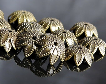 Antique Brass Flower Petal 9mm Bead Cap : 20 pc Brass Beadcap