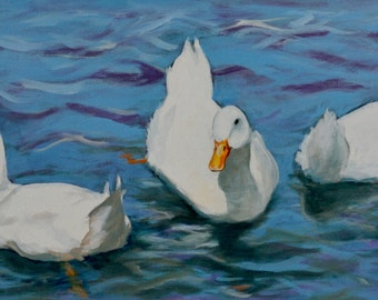 Pekin Ducks an Acrylic Painting by Pattie Wall