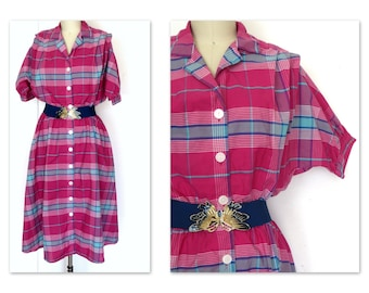 Sz L Vintage 80s Plaid Shirtwaist Dress  Full Skirt Pocket Dress Rainbow Hues of Pinks and Green
