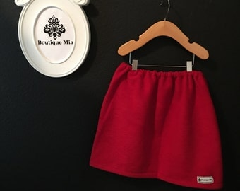 Will fit Size 4T to 7 yr - READY to MAIL - Children Skirt - Red Fleece - by Boutique Mia and More