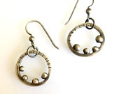 Rustic Silver Circle Earrings with Balls Textured Hammered Rings  Industrial Baubbly
