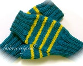 Fingerless Mittens, Ladies and Teens, Hand Knit, Teal and Mustard Gold