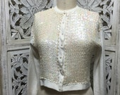 1950s ivory cardigan 50s sequin sweater size small Vintage beaded cardigan sweater girl
