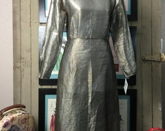 1930s dress silver lame' dress 30s dress evening dress size x small metal dress mesh dress rare dress collectable dress
