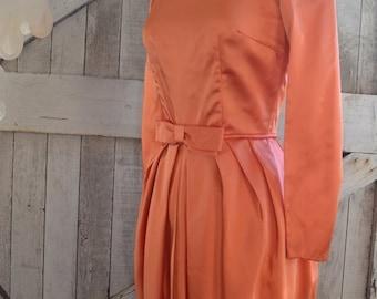 Sale 1950s cocktail dress 50s orange dress wiggle dress size small Vintage bridesmaid dress
