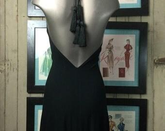 On sale Backless dress tassel dress jersey dress size medium Vintage dress black dress halter dress
