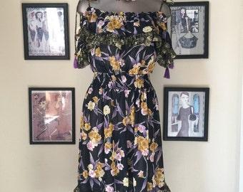 Fall sale 1980s dress diane freis dress 80s dress tropical dress off the shoulders size medium Vintage dress cha cha dress