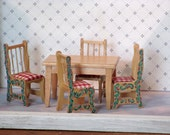 Miniature table and painted chairs