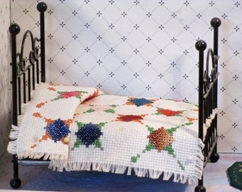 Miniature counted cross stitch Bedspread