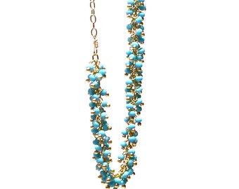Turquoise Rope Necklace/Handmade Jewelry/14K Gold Fill