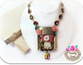 We're all Mad Here Alice in Wonderland Necklace the white rabbit