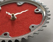 Bicycle Gear Clock - Vintage Red Tweed | Bike Clock | Wall Clock | Recycled Bike Parts Clock