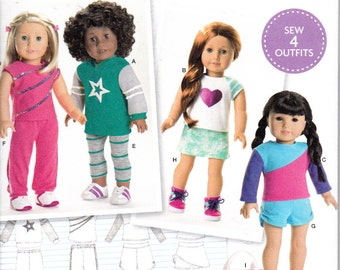 """Simplicity S0171 8042 or 171 18"""" Knit Doll Clothes 4 Outfits Plus Workout Bag Sewing Pattern NEW UNCUT"""