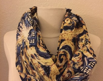 Dr Who Exploding Tardis Police Box Starry Night Circle Infinity Scarf