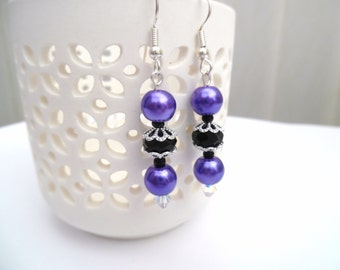 Purple and Black Pearl Earrings, Bridesmaid Earrings, Jewelry For Bridesmaids, Purple Beaded Earrings, Wedding Jewelry, Dangle Earrings