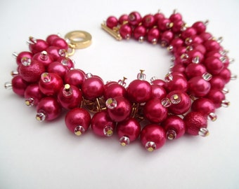 Raspberry Pink Pearl Bracelet, Bridesmaid Jewelry, Cluster Bracelet, Beaded Bracelet, Pink Wedding Jewelry, Dark Pink Bridesmaids Bracelets