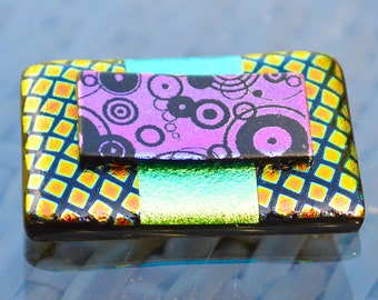 Large Dichroic Glass Brooch - Funky Bright Colours with a Sterling Silver Pin Fitting - Multi Coloured Oblong Square Stripes - Gift Box