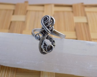 Sterling Silver Freeform Weave Swirl Wire Boho Ring Oxidized Size 8 Wire Wrapped Jewelry Handmade