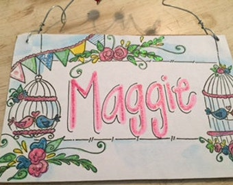 Hand personalized adorable bird and bunting shabby sign