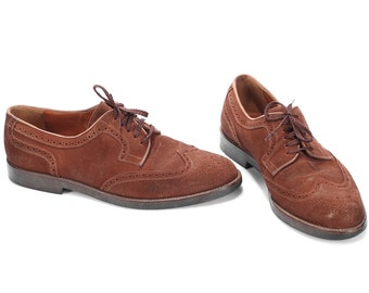 BROWN SUEDE Leather Brogue Shoes 70s Lace Up Derby Oxford Comfortable Wide Fit Shoe Men Gift Made In Italy Eur 42.5, Us men 9, Uk 8.5