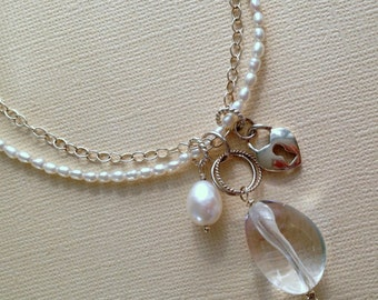 Multi Strand Pearl Necklace, Crystal Quartz Cluster Pendant, White Pearl Statement Necklace