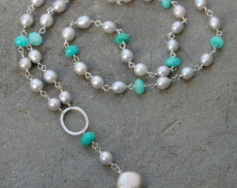 Gray Pearl Amazonite Statement Necklace, Rosary Style Necklace, Long Y-Necklace