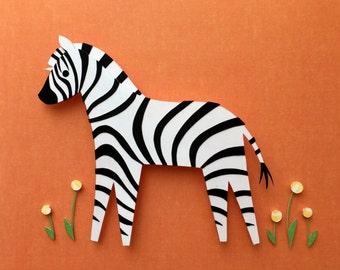 Zoo, Jungle, Safari, Nursery Decor, Zebra Paper Cutout