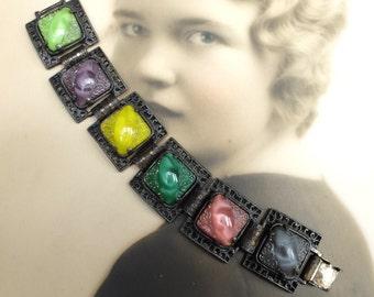 Vintage AS IS Bracelet No Clasp Glass Stones Links